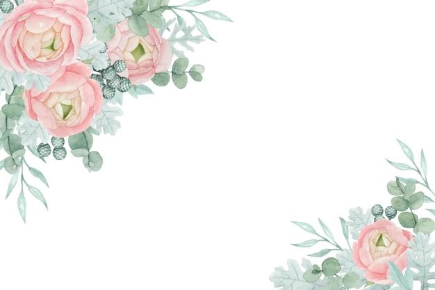 Fiori di ranuncolo floreale dell'acquerello, mugnaio polveroso e foglie di eucalipto