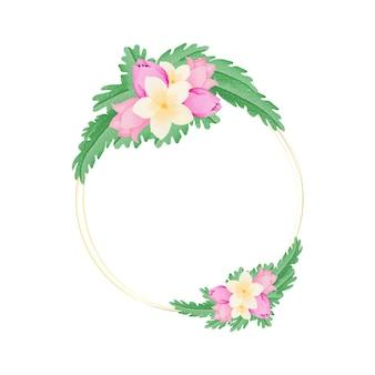 Cornice ad anello floreale ad acquerello con fiori e foglie disegnati a mano