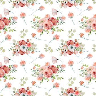 Modello senza cuciture floreale dell'acquerello di fiori selvatici di rose rosa e rosse e rami di eucalipto