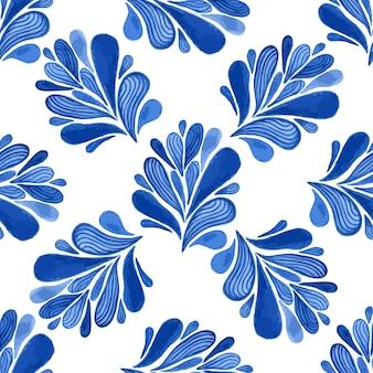 Modello senza soluzione di continuità floreale acquerello con foglie blu. vector sfondo per tessile, carta da parati, avvolgimento
