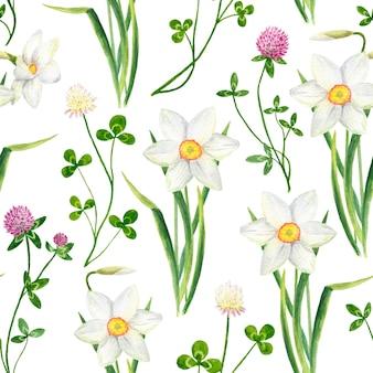 Reticolo senza giunte floreale dell'acquerello con fiori di trifoglio e narciso
