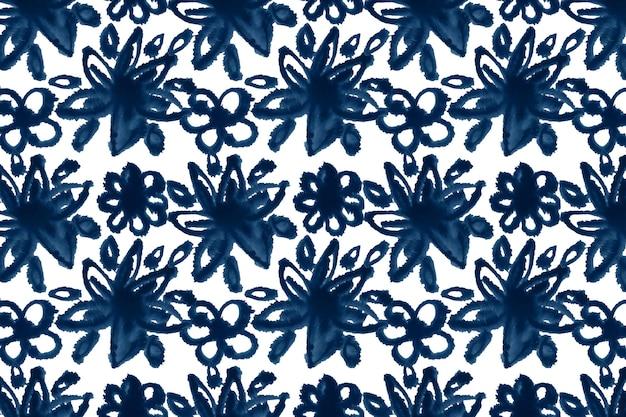 Modello shibori floreale dell'acquerello