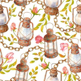Modello vintage floreale dell'acquerello