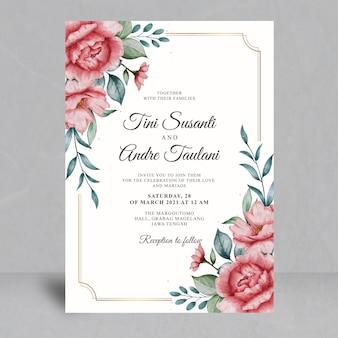 Modello di carta di matrimonio floreale ad acquerello