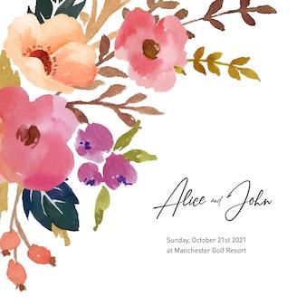 Vettore floreale dell'acquerello dell'invito di nozze e di impegno floreale libero