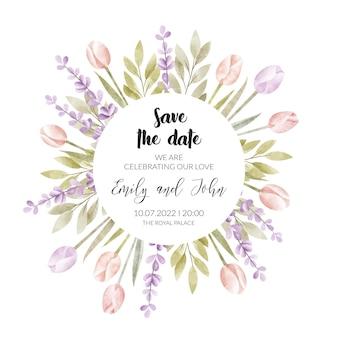 Biglietto d'invito per matrimonio floreale ad acquerello