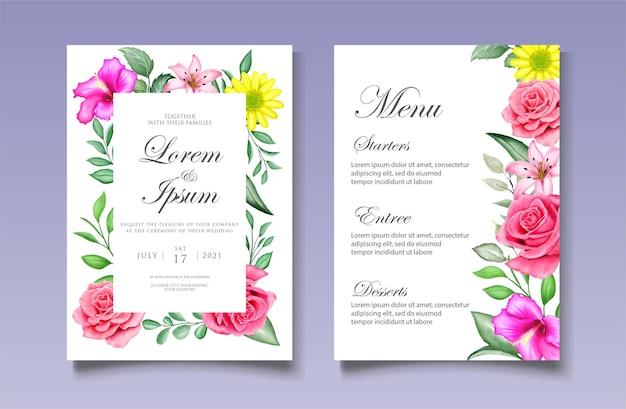 Carta di invito matrimonio floreale dell'acquerello Vettore Premium