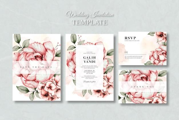 Modello di set di invito per matrimonio floreale ad acquerello