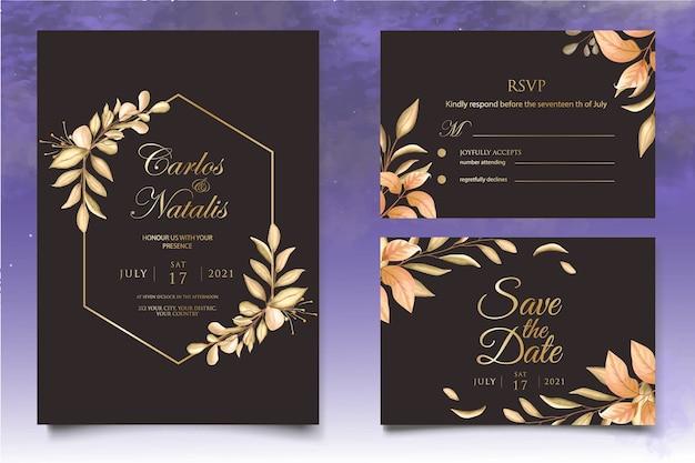 Modello di invito matrimonio floreale dell'acquerello con bellissimi fiori Vettore Premium