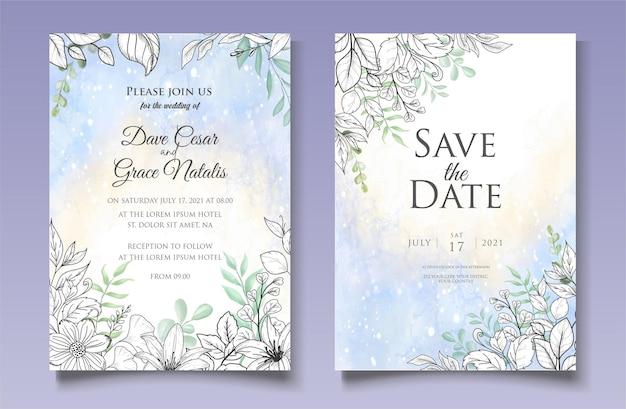 Modello di invito matrimonio floreale dell'acquerello