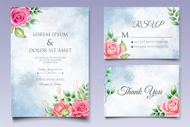 Modello di invito di nozze floreale dell'acquerello