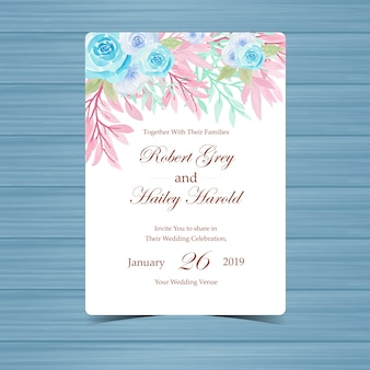 Invito a nozze floreale dell'acquerello con rose pastelli