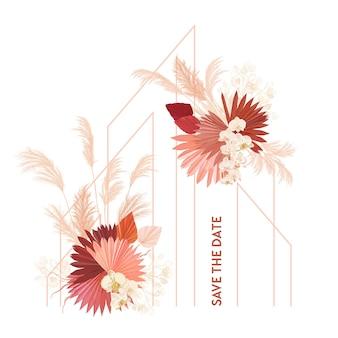 Blocco per grafici di vettore di nozze floreale dell'acquerello. erba della pampa, fiori di orchidea, modello di bordo di foglie di palma secche per la cerimonia del matrimonio, biglietto d'invito minimo, banner estivo boho decorativo