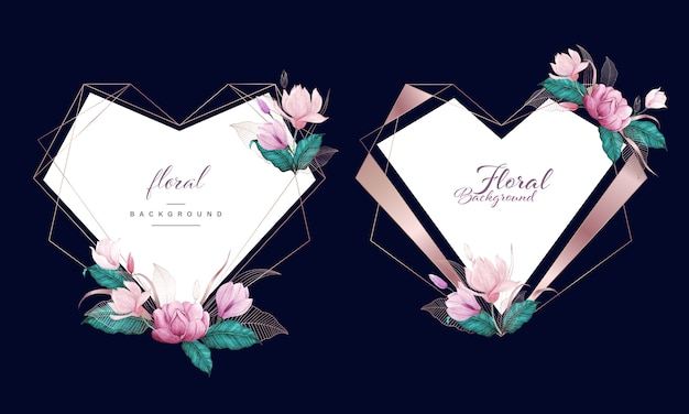 Acquerello floreale con cornice geometrica cuore oro rosa, sfondo multiuso