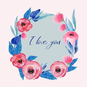 Corona floreale dell'acquerello in rosa e sfocatura per matrimonio, san valentino, logo, carta.