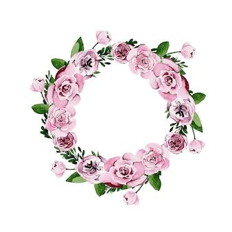 Corona floreale dell'acquerello di rose rosa e peonie