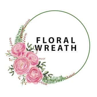 Corona floreale dell'acquerello, rosa rosa