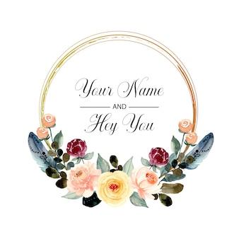Corona floreale dell'acquerello con piuma
