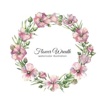 Corona floreale dell'acquerello con fiori rosa delicati