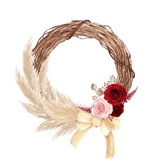 Corona floreale dell'acquerello con pampa rosa e secca