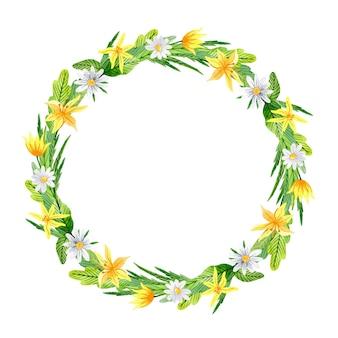 Corona floreale dell'acquerello con fiori primaverili gialli