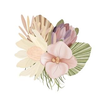 Bouquet di fiori ad acquerello in stile boho