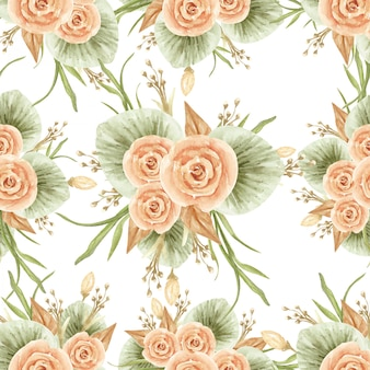 Mazzo del fiore dell'acquerello nel modello senza cuciture