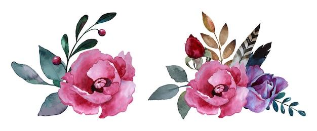 Bouquet di fiori ad acquerello con piume