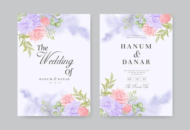 Filiale del fiore dell'acquerello sul modello dell'invito di nozze