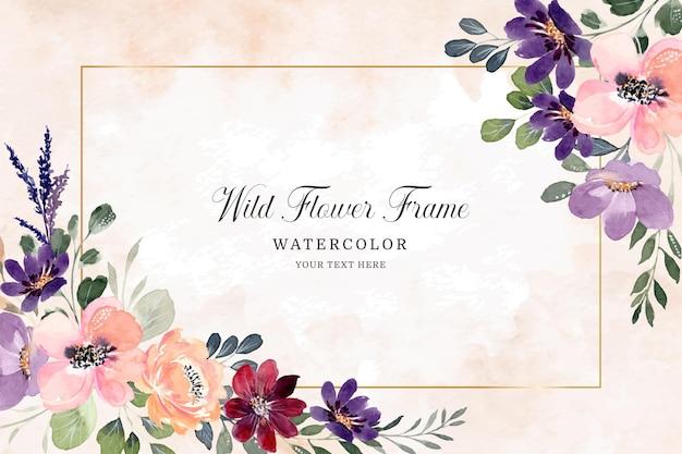 Cornice fiore dell'acquerello sfondo colorato di fiori di campo