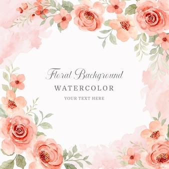 Cornice fiore dell'acquerello sfondo fiore rosa