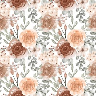 Modello senza cuciture beige pastello di fiori e foglie dell'acquerello