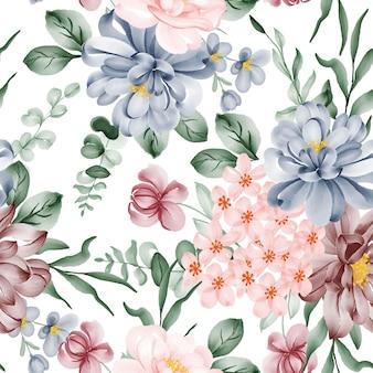 Modello senza cuciture di fiori e foglie dell'acquerello