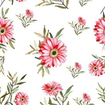 Pittura floreale ad acquerello per un bellissimo motivo senza cuciture