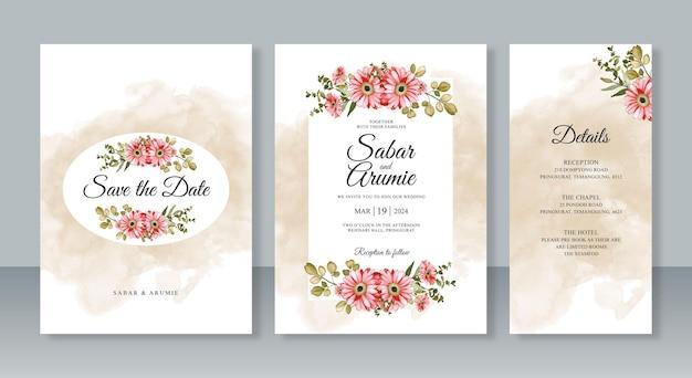 Pittura floreale ad acquerello per set di modelli di biglietti di invito a nozze