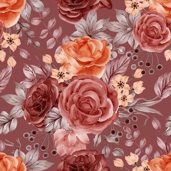 Reticolo senza giunte di caduta di autunno della rosa del fiore dell'acquerello