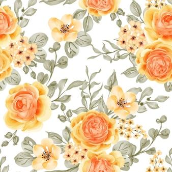 Acquerello fiore rosa talitha giallo arancio senza cuciture Vettore Premium