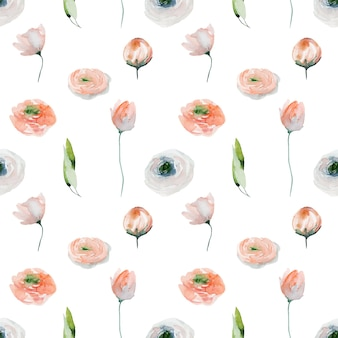 Reticolo senza giunte del fiore dell'acquerello di fiori di ranuncolo rosa fiori di campo e foglie verdi