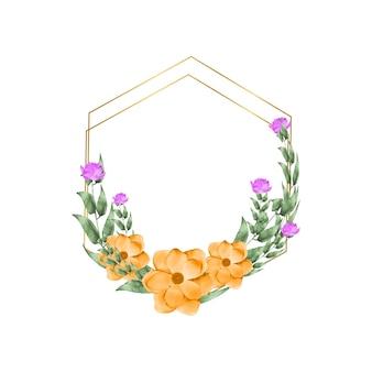 Cornice floreale con fiori ad acquerello per biglietti di auguri, inviti e altri disegni di stampa