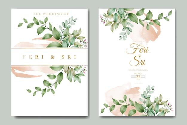 Modello di biglietto d'invito per matrimonio con fiori e foglie ad acquerello