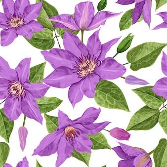 Modello senza cuciture tropicale dei fiori dell'acquerello Vettore Premium