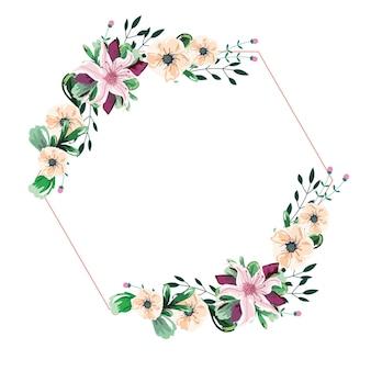 Foglie di ramo di ghirlanda di fiori dell'acquerello