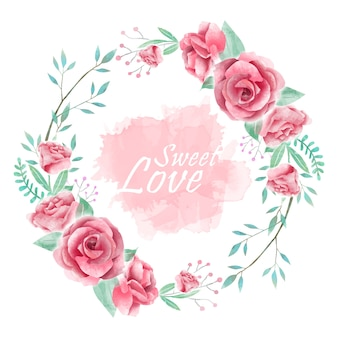 Cornice ghirlanda di fiori dell'acquerello