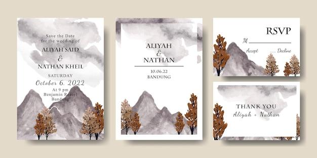 Modello di biglietto d'invito per matrimonio con paesaggio forestale dell'acquerello modificabile