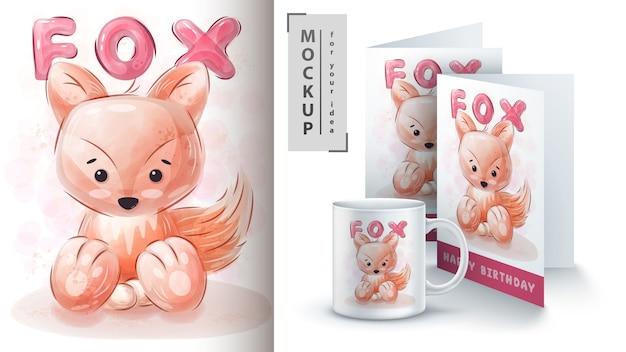 Manifesto e merchandising della volpe dell'acquerello