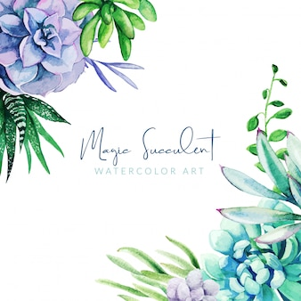 Cornice dell'acquerello composta da piante succulente di colore pieno brillante