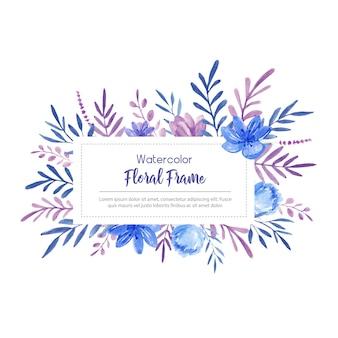 Cornice ad acquerello con fiori blu e viola