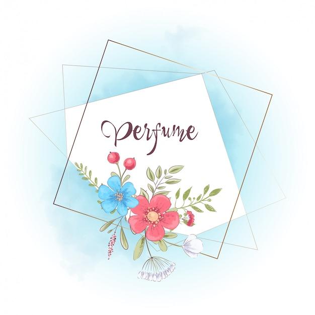 Cornice ad acquerello con fiori e testo. illustrazione di disegno a mano