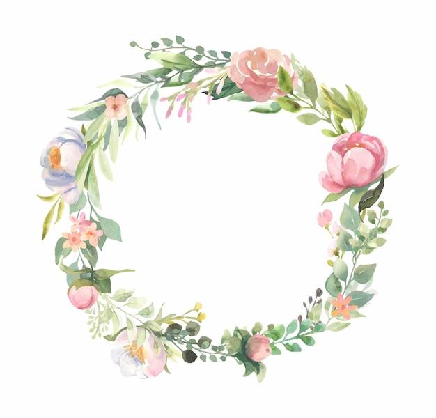 Cornice dell'acquerello con mazzi di fiori rosa, foglie verdi.