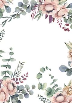 Cornice acquerello con fiori rosa.